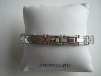Edelstalen armband met gouden accenten